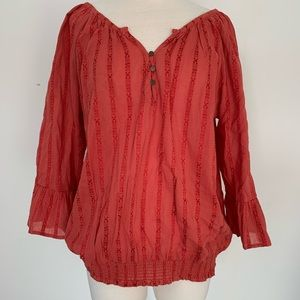 Maurices flounce sleeve embroidered blouse.